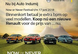 Profiteer nog tot 20 juni van Now or Never voordeel incl. accessoirecheque bij Auto Indumij!