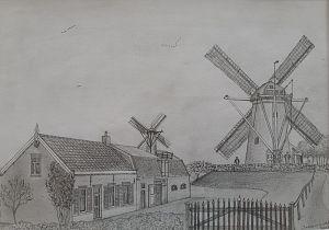 Jonge molenaar exposeert zijn tekeningen in Museum Hoeksche Waard